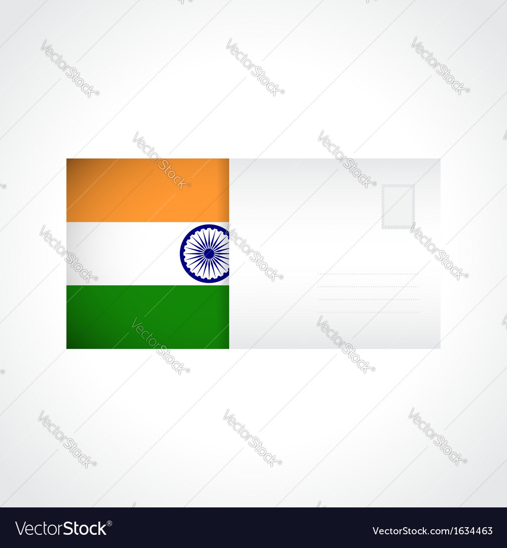 Envelope with indian flag card vector | Price: 1 Credit (USD $1)
