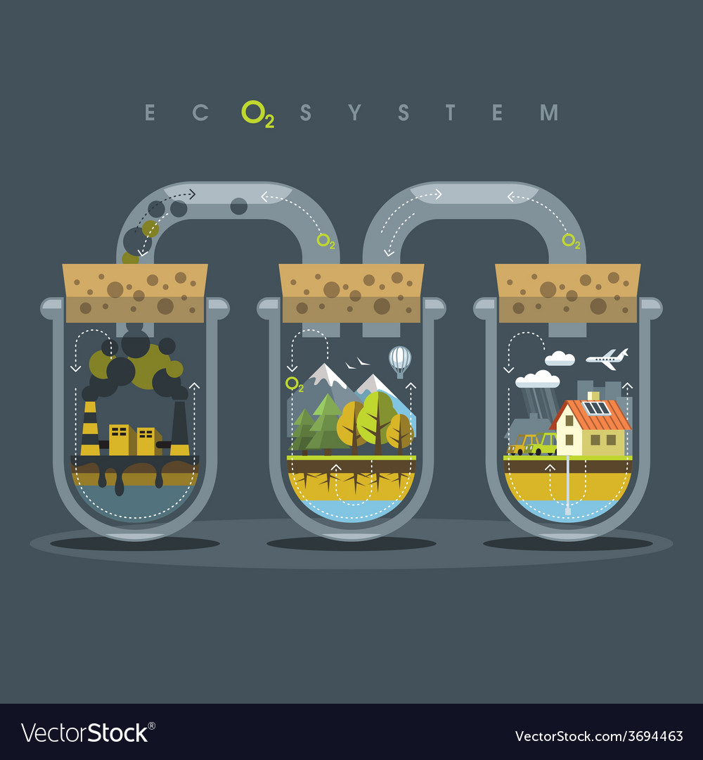 Flat ecosystem oxygen vector | Price: 3 Credit (USD $3)