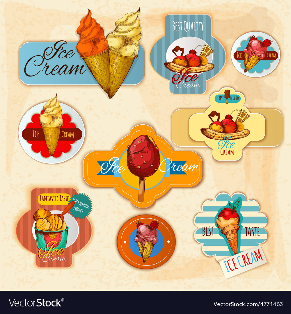 Ice cream labels vector | Price: 3 Credit (USD $3)