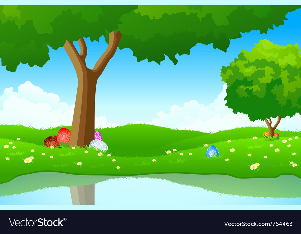 Landscape with easter eggs vector | Price: 1 Credit (USD $1)