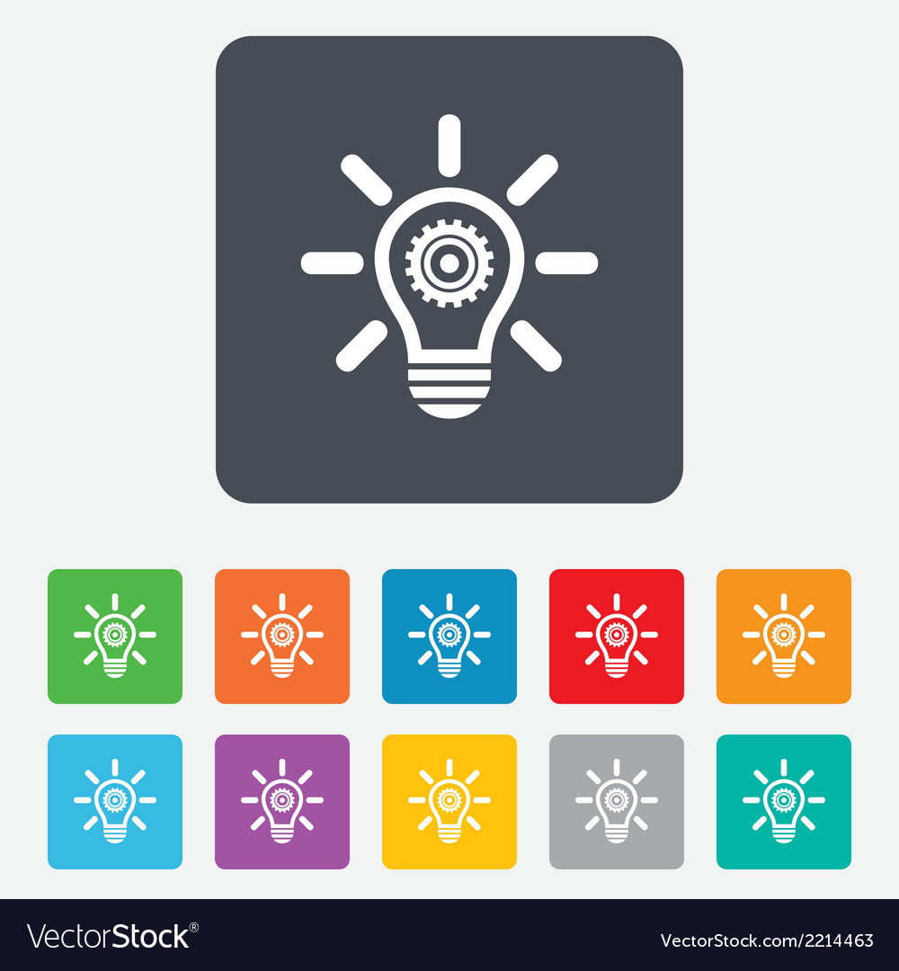 Light lamp sign icon bulb with gear symbol vector | Price: 1 Credit (USD $1)