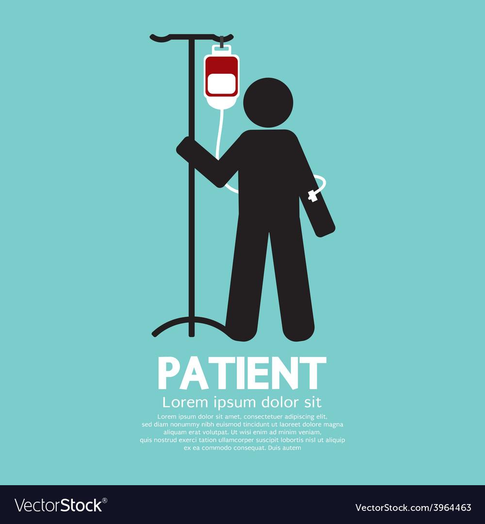Patient with saline solution graphic symbol vector | Price: 1 Credit (USD $1)