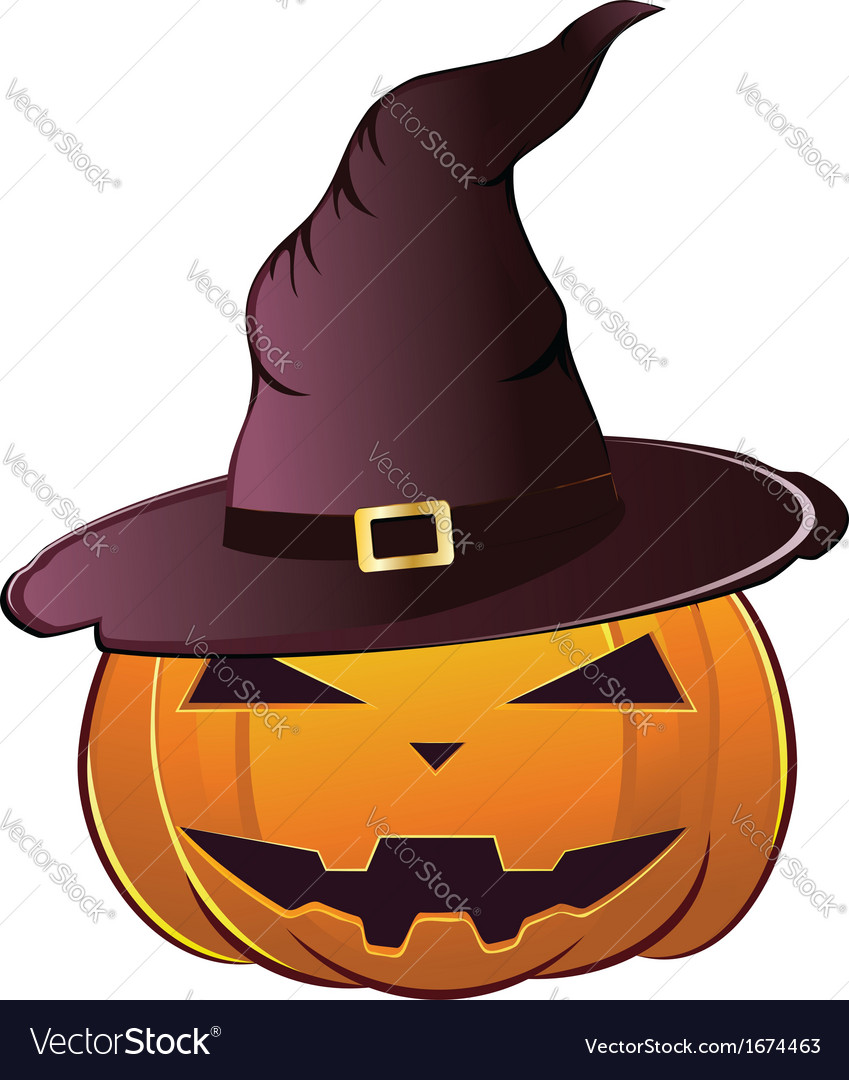 Pumpkin in witch hat vector | Price: 1 Credit (USD $1)