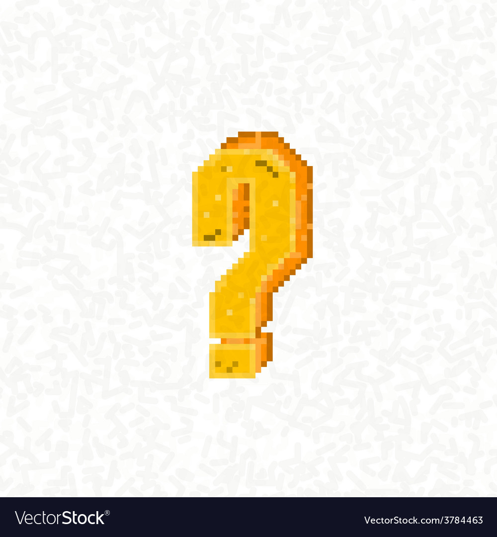 Retro question mark symbol style 8 bit vector | Price: 1 Credit (USD $1)