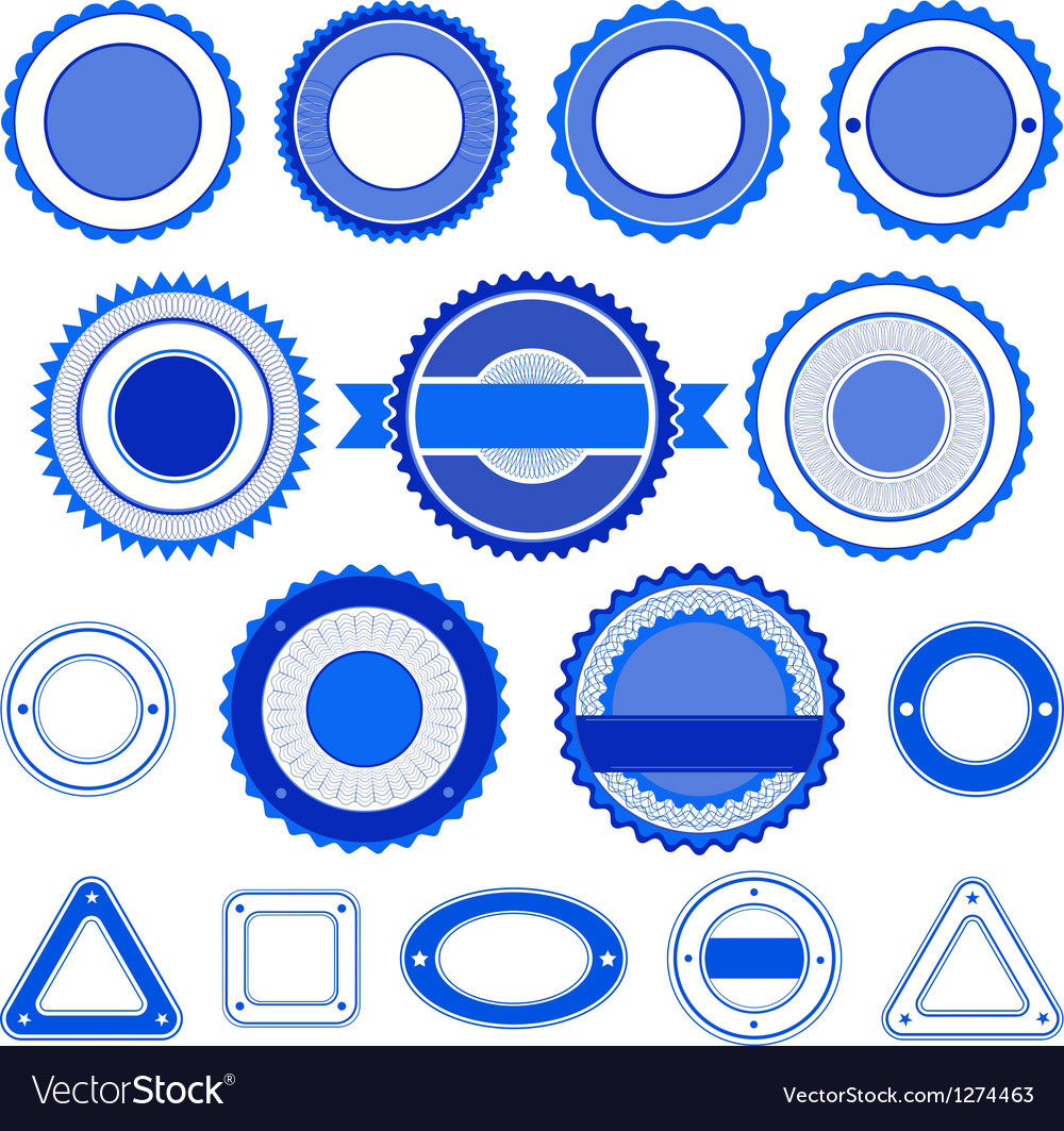 Set of badges labels and stickers in blue vector | Price: 1 Credit (USD $1)