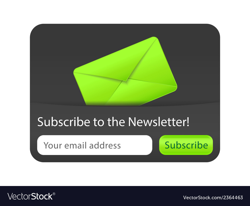 Subcribe to newsletter website element with green vector | Price: 1 Credit (USD $1)