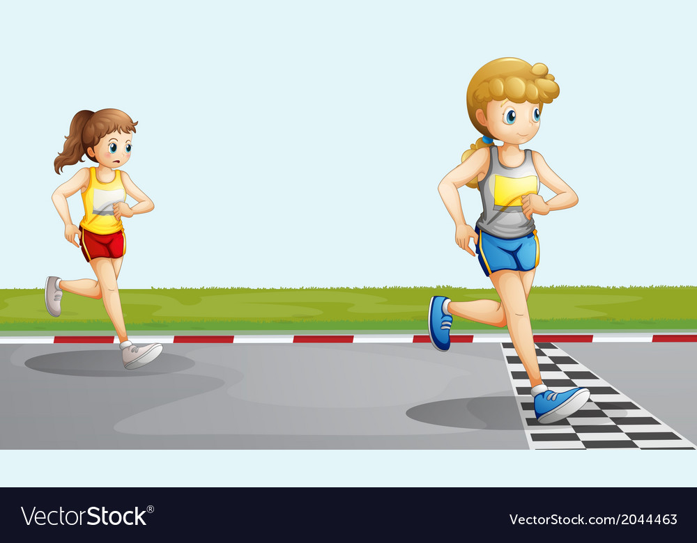Two girls racing vector | Price: 1 Credit (USD $1)
