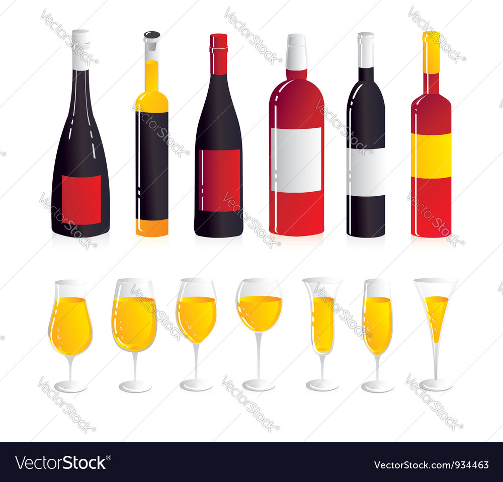 Wine bottle and glasses vector | Price: 3 Credit (USD $3)