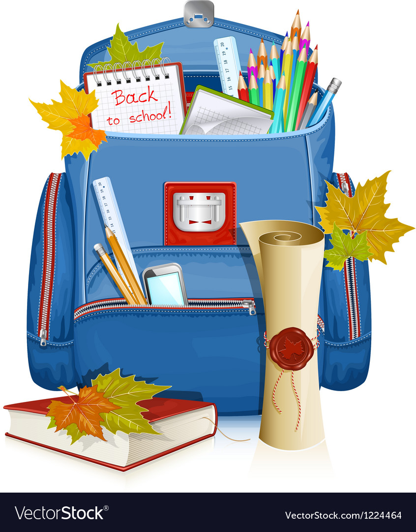 Back to school school bag with education objects vector   Price: 3 Credit (USD $3)