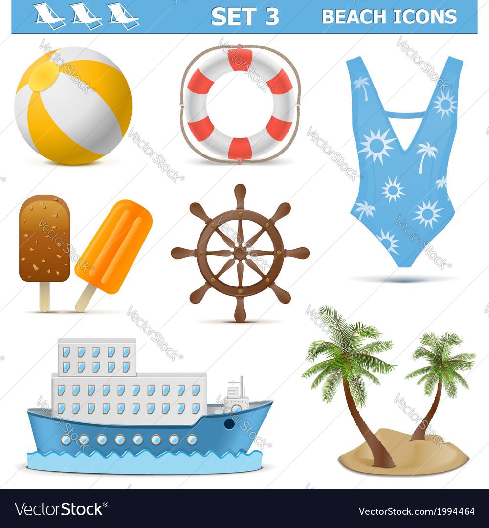 Beach icons set 3 vector | Price: 1 Credit (USD $1)