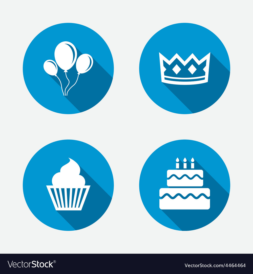 Birthday party icons cake and cupcake symbol vector | Price: 1 Credit (USD $1)