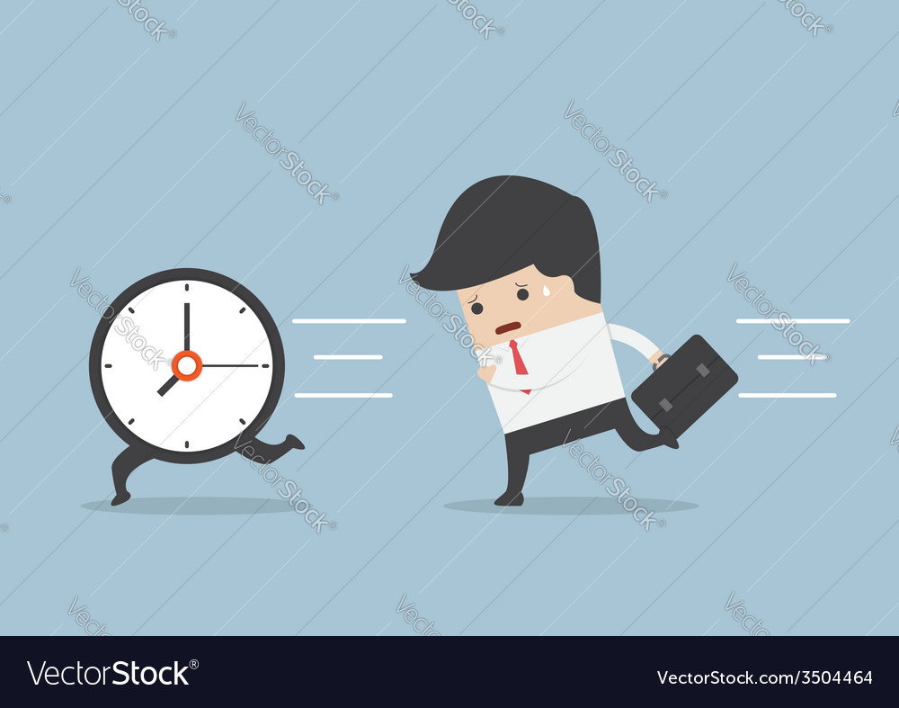 Business man run follow the clock vector | Price: 1 Credit (USD $1)