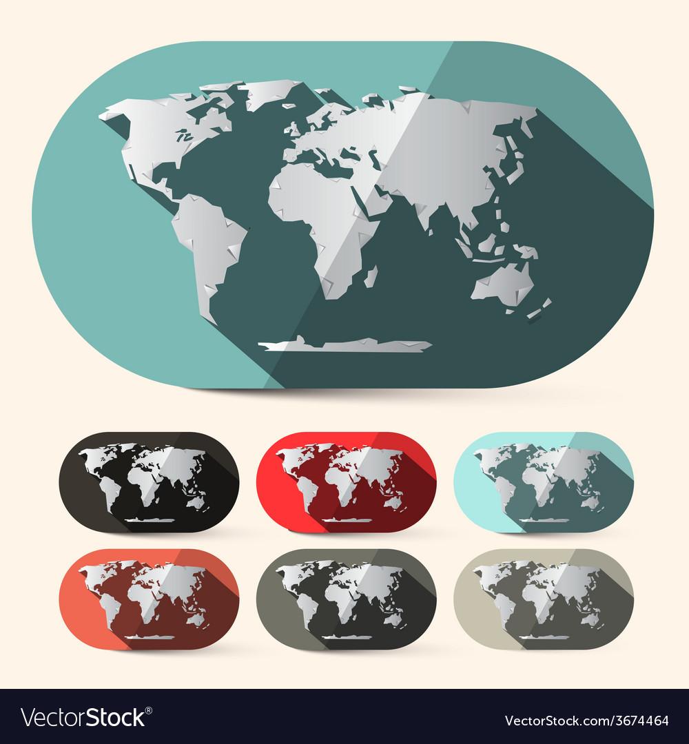 Flat design paper world map set vector | Price: 1 Credit (USD $1)