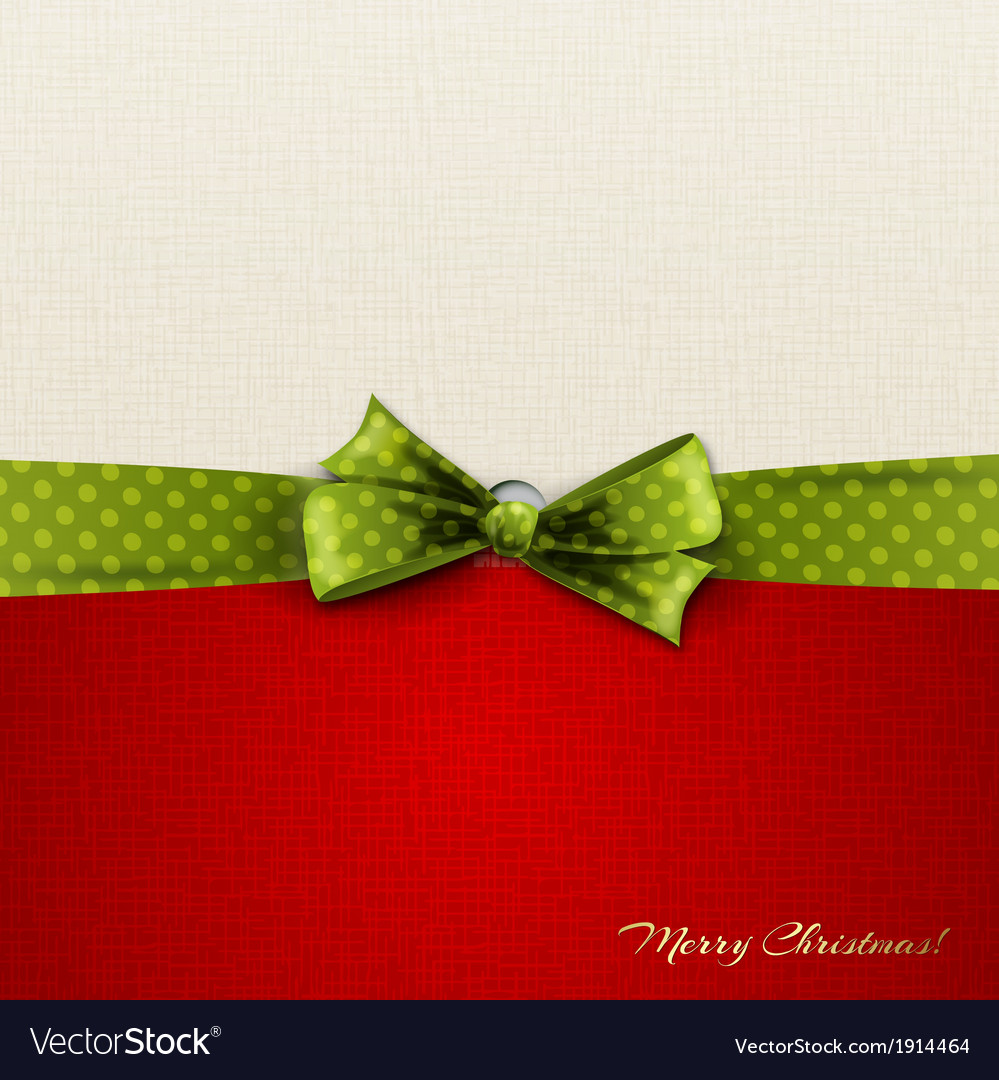 Greeting card with green polka dot bow vector | Price: 1 Credit (USD $1)