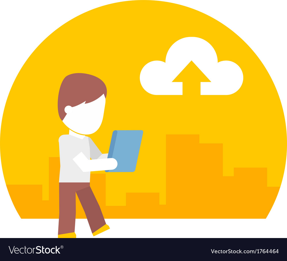 Man uses a tablet during the journey flat design vector   Price: 1 Credit (USD $1)