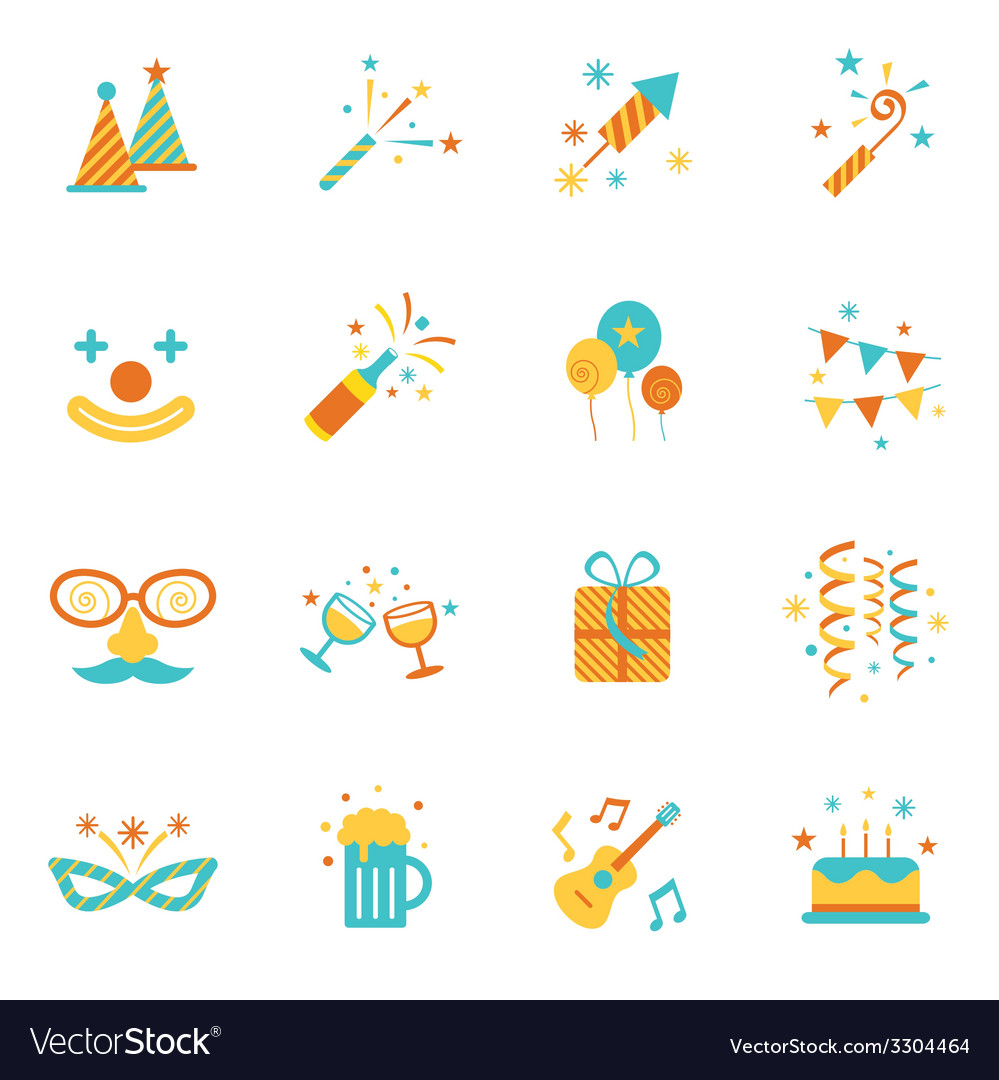 Party objects and icons set vector | Price: 1 Credit (USD $1)