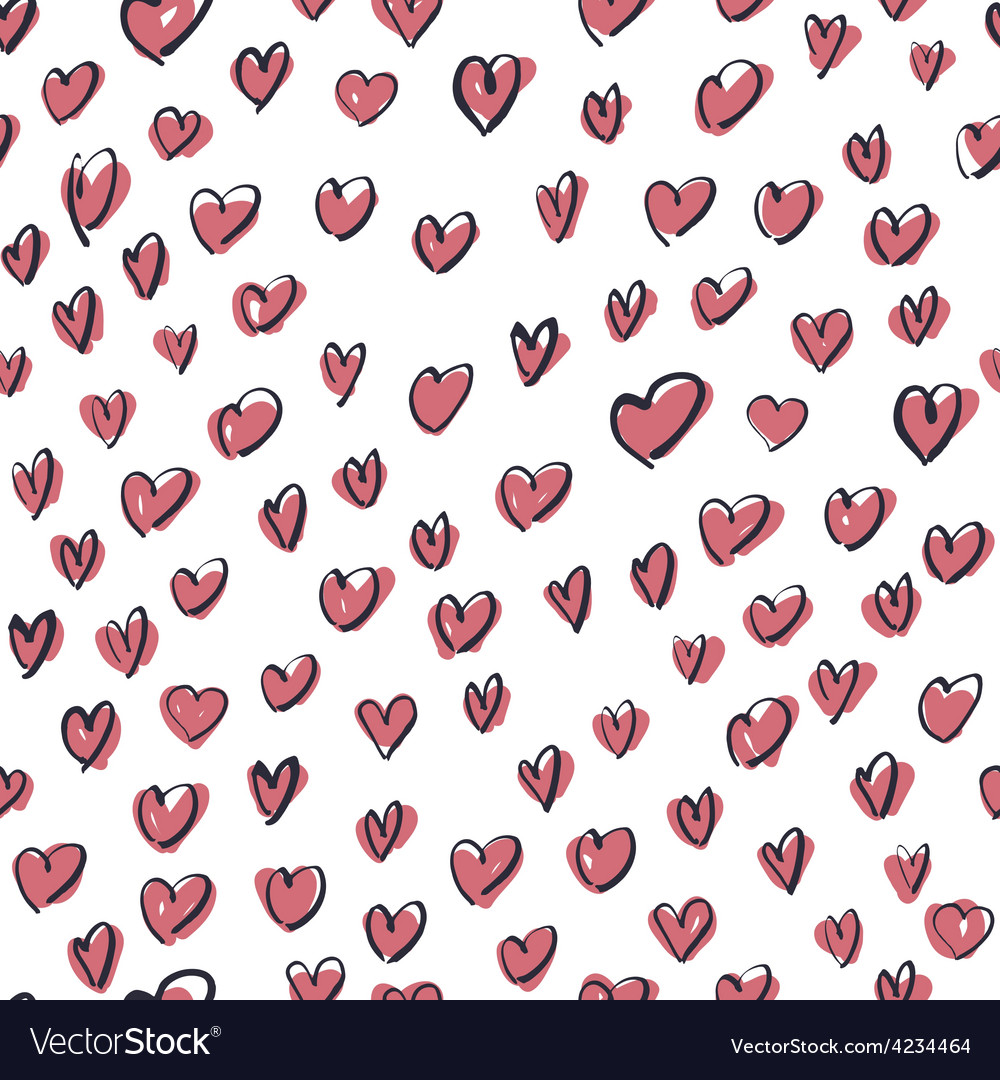 Seamless hearts hand drawn pattern vector | Price: 1 Credit (USD $1)