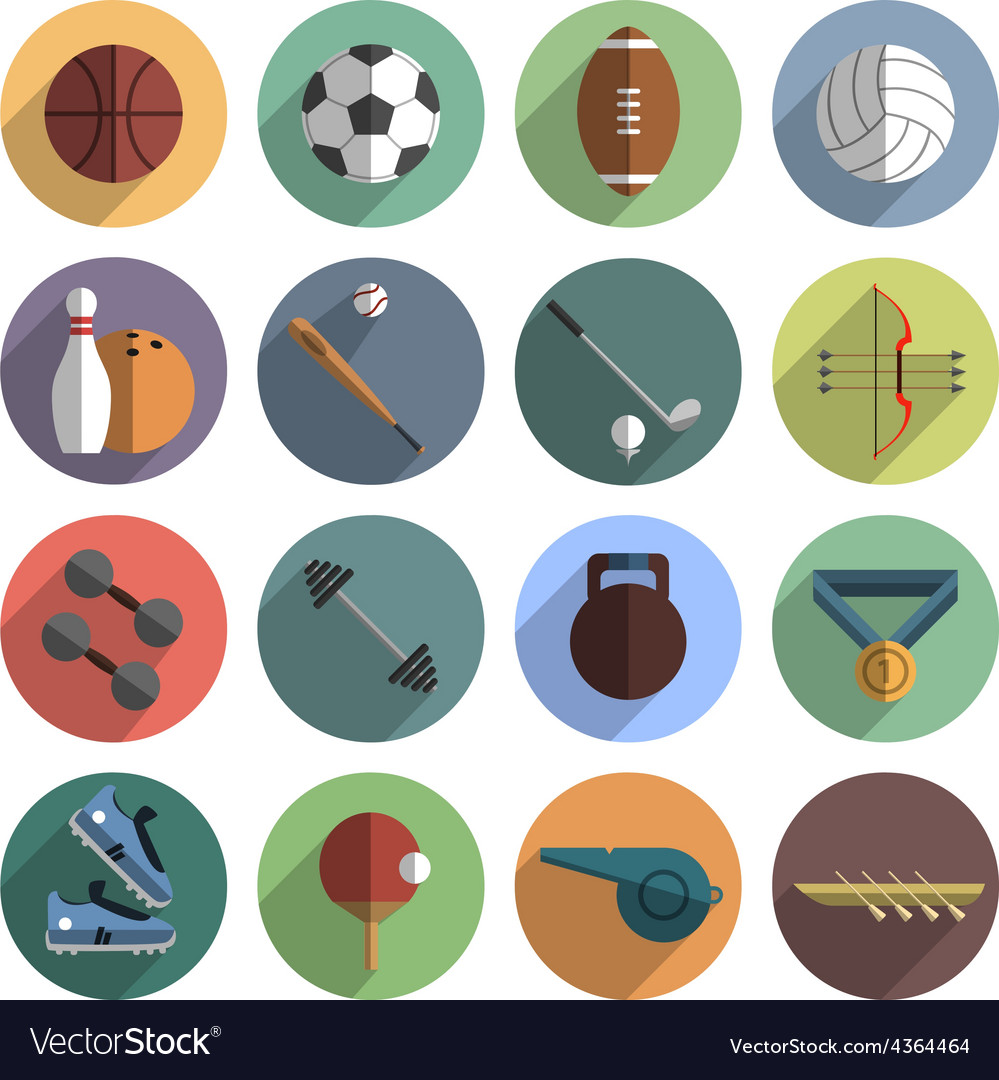 Sport icons set shadow flat vector | Price: 1 Credit (USD $1)