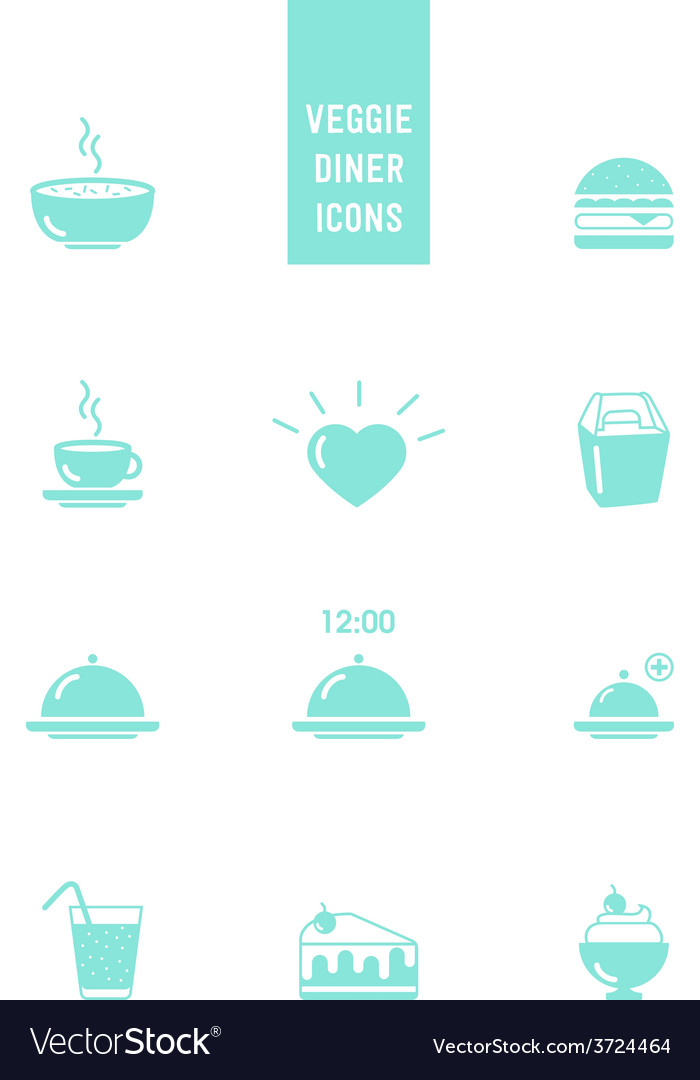 Veggie burger diner icons vector | Price: 1 Credit (USD $1)