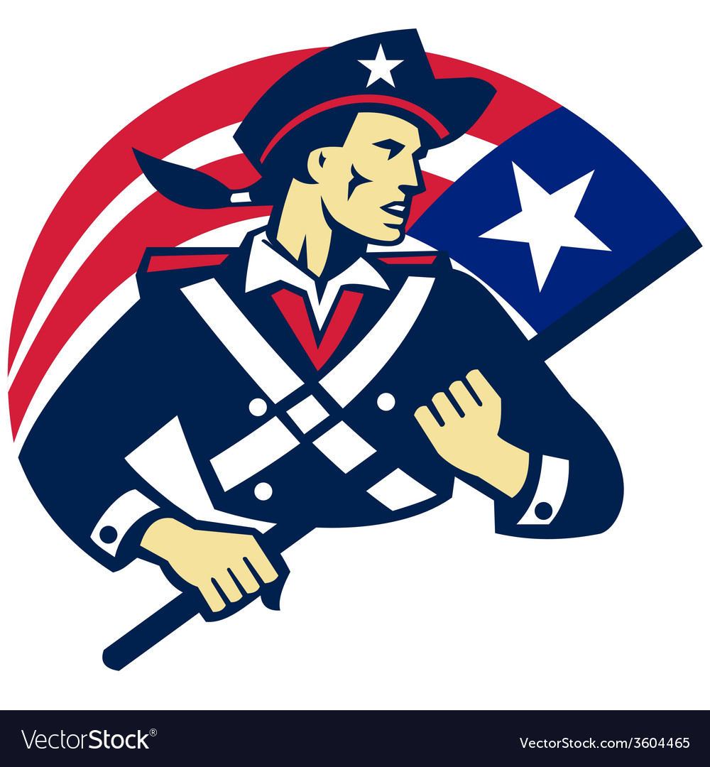 American patriot minuteman flag retro vector | Price: 1 Credit (USD $1)