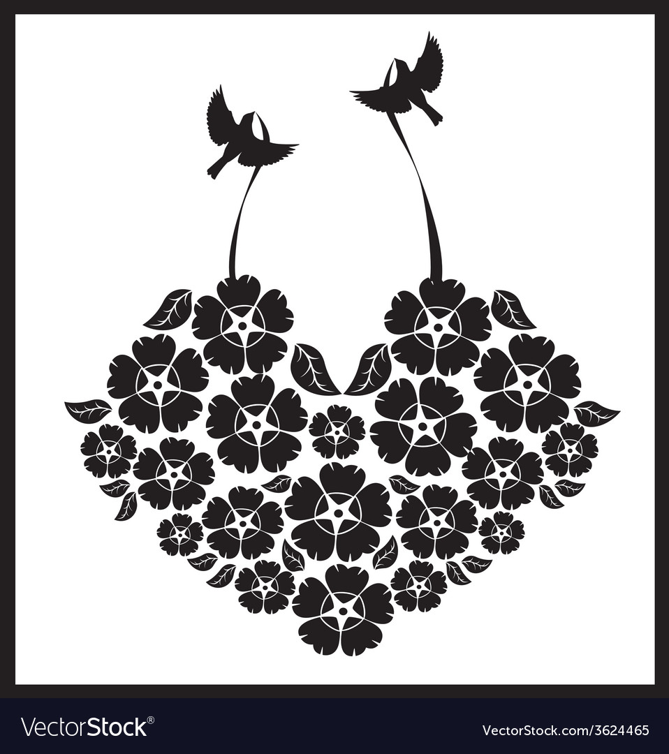 Birds with a heart of flowers vector | Price: 1 Credit (USD $1)