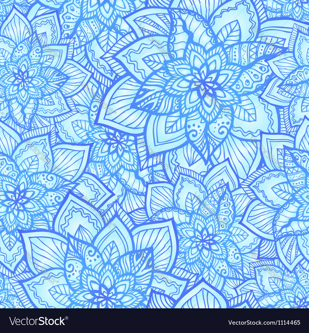 Bright blue floral seamless pattern vector | Price: 1 Credit (USD $1)