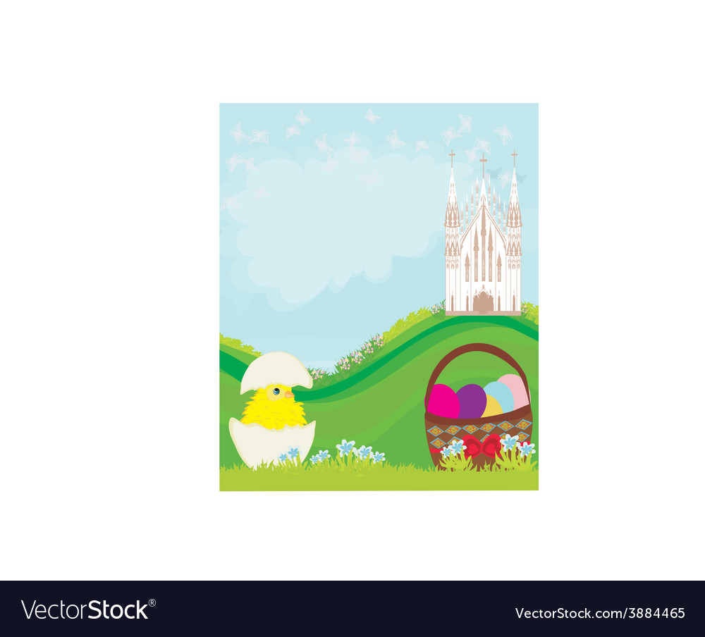 Easter landscape with eggs flowers butterflies and vector | Price: 1 Credit (USD $1)