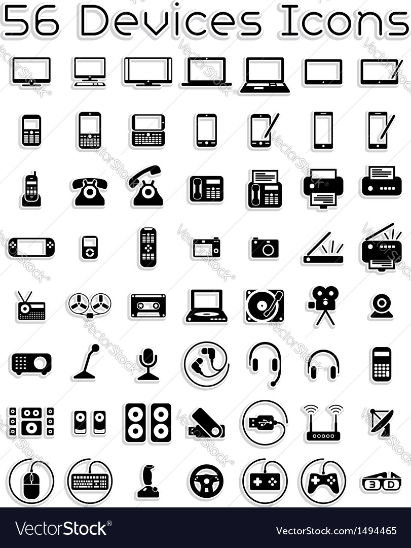 Electronic devices icons vector | Price: 3 Credit (USD $3)