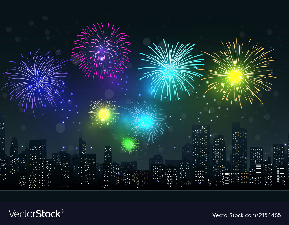 Fireworks on city night scene vector | Price: 1 Credit (USD $1)