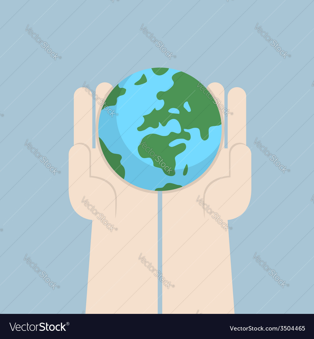 Hand holding the world vector | Price: 1 Credit (USD $1)