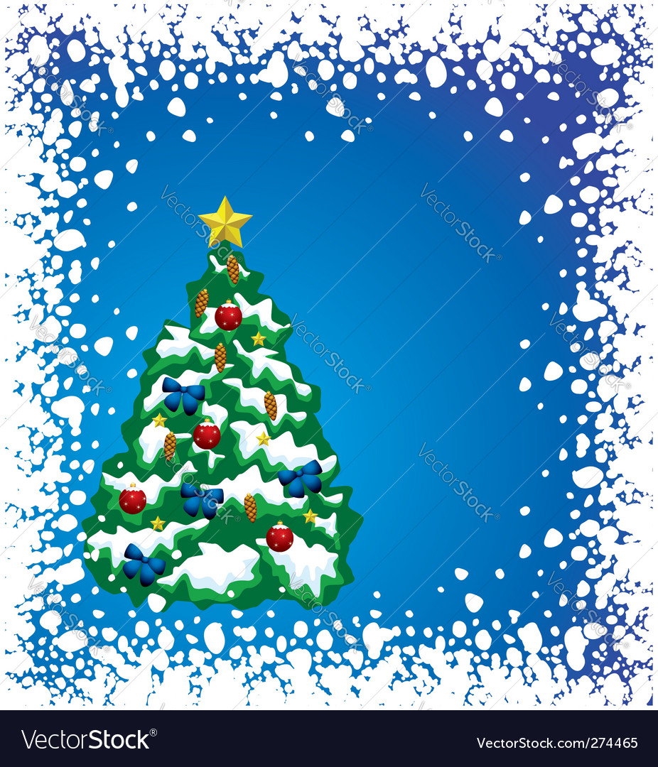 Holiday tree with snow frame vector | Price: 1 Credit (USD $1)