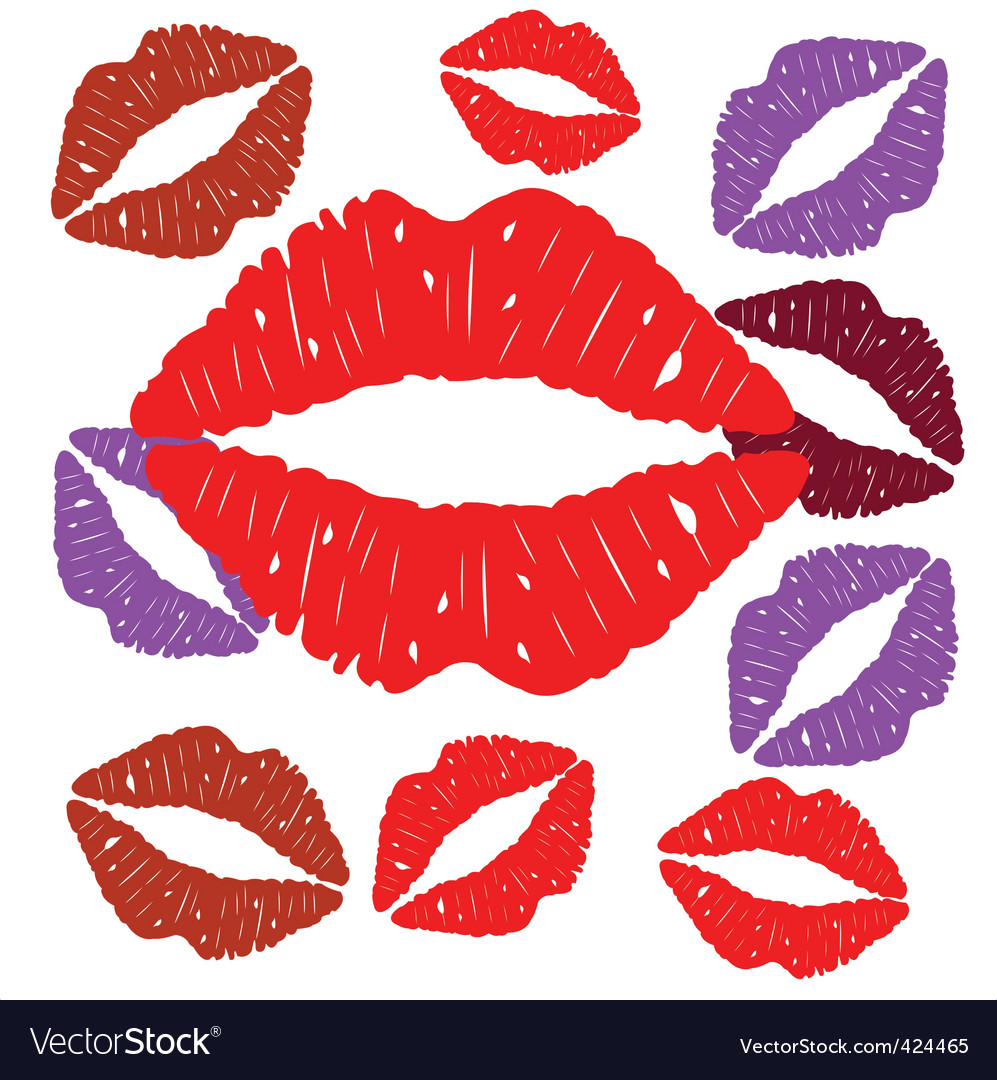 Imprint of lips vector | Price: 1 Credit (USD $1)