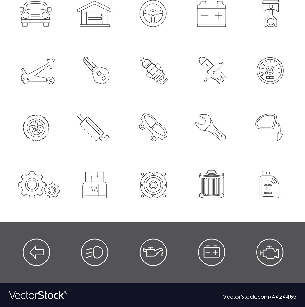 Line icons car maintenance vector | Price: 1 Credit (USD $1)