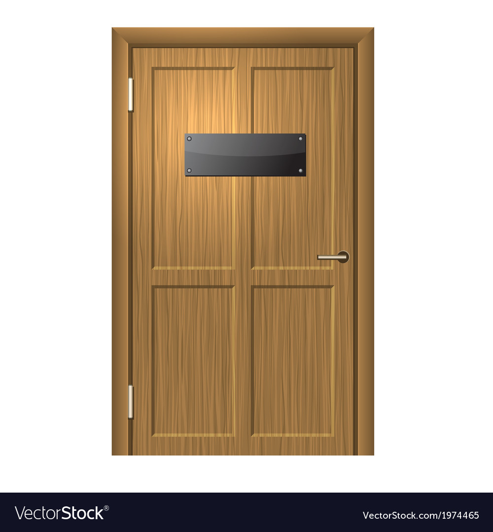 Realistic wood door with blanc black plate vector | Price: 1 Credit (USD $1)