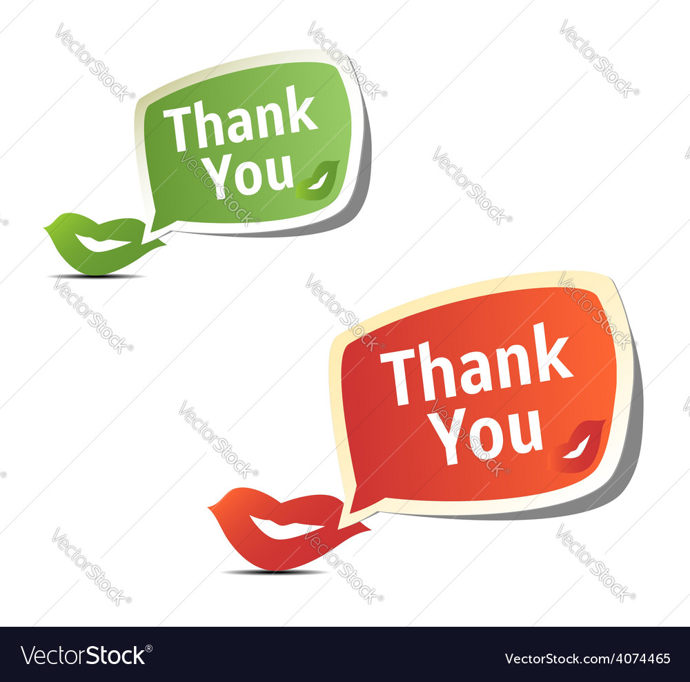 Set of bright colorful stickers thank you vector | Price: 1 Credit (USD $1)