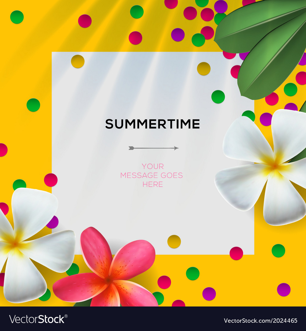 Summertime template with floral background vector | Price: 1 Credit (USD $1)