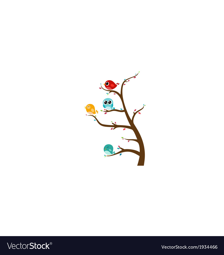 Birds sitting on tree vector | Price: 1 Credit (USD $1)