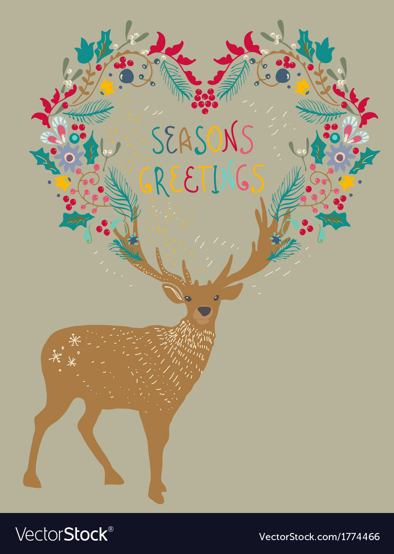Christmas background with deer and floral holiday vector | Price: 1 Credit (USD $1)