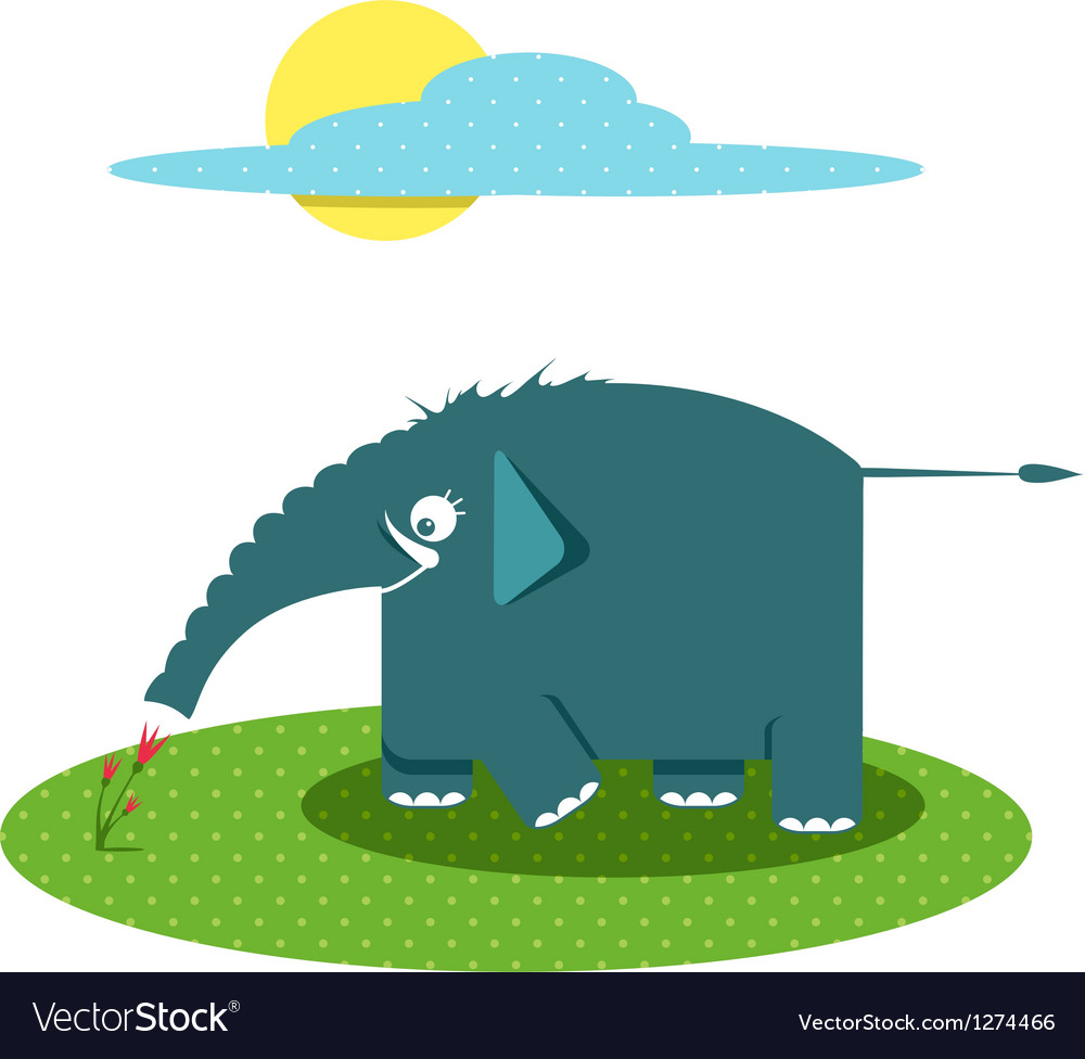 Funny graphic elephant smelling flowers vector | Price: 1 Credit (USD $1)