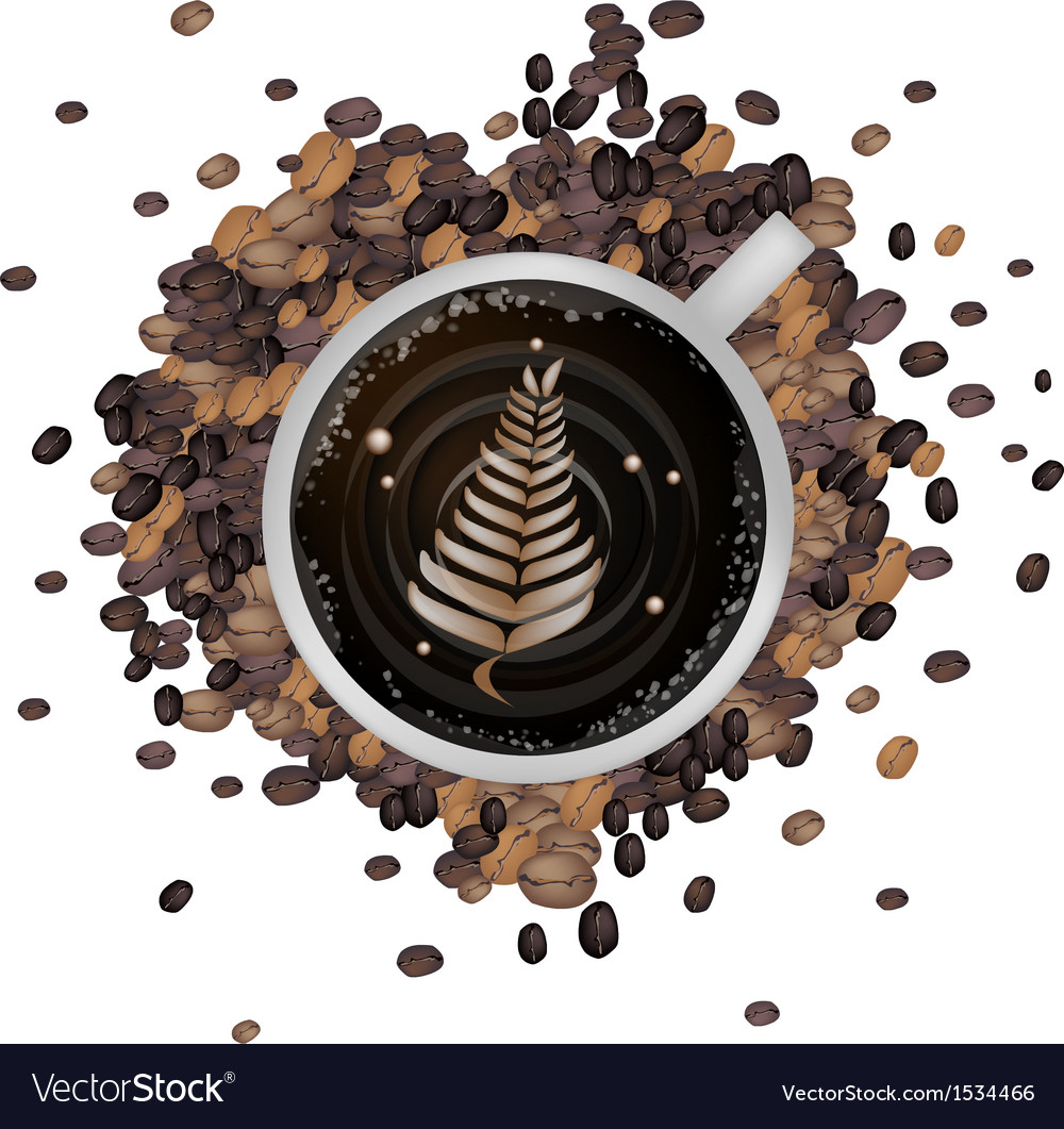Hot coffee with latte art in fern leaf vector | Price: 1 Credit (USD $1)