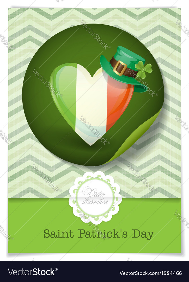 Irish flag in the shape of a heart vector | Price: 1 Credit (USD $1)