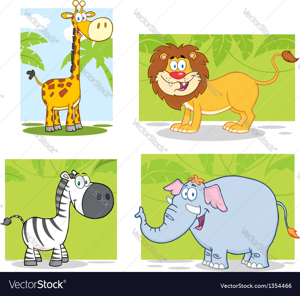 Jungle animals with background collection set vector | Price: 3 Credit (USD $3)