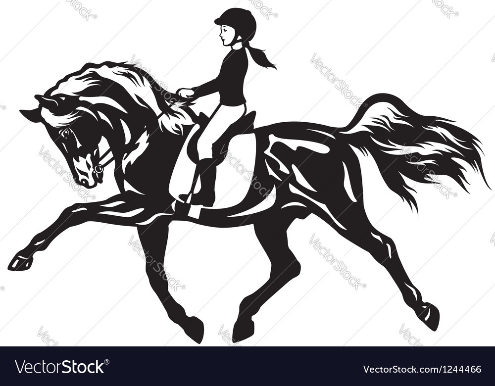 Little girl riding horse vector | Price: 1 Credit (USD $1)