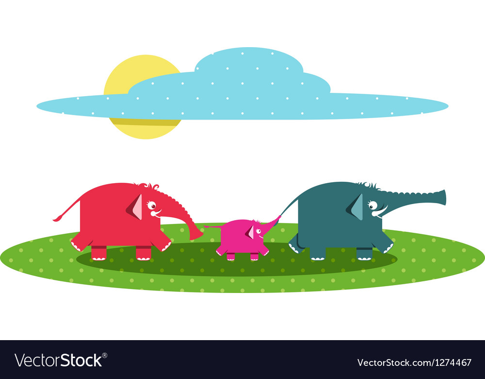 Funny graphic elephants family vector | Price: 1 Credit (USD $1)