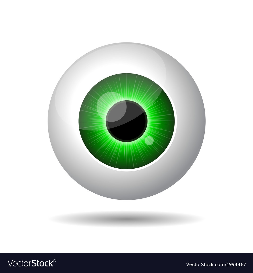 Green eye on white background vector | Price: 1 Credit (USD $1)