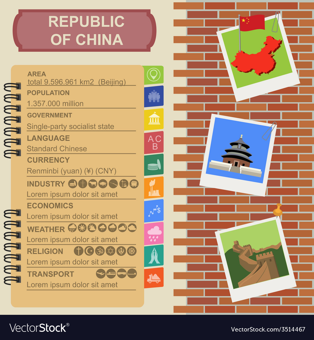 Republic of china infographics statistical data vector | Price: 1 Credit (USD $1)