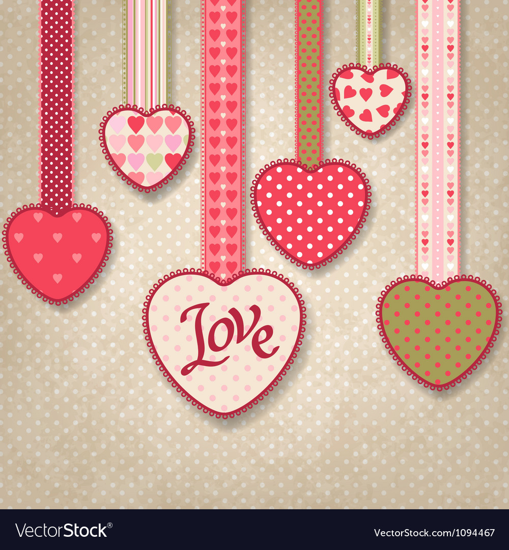 Retro background of vintage design with hearts vector | Price: 1 Credit (USD $1)
