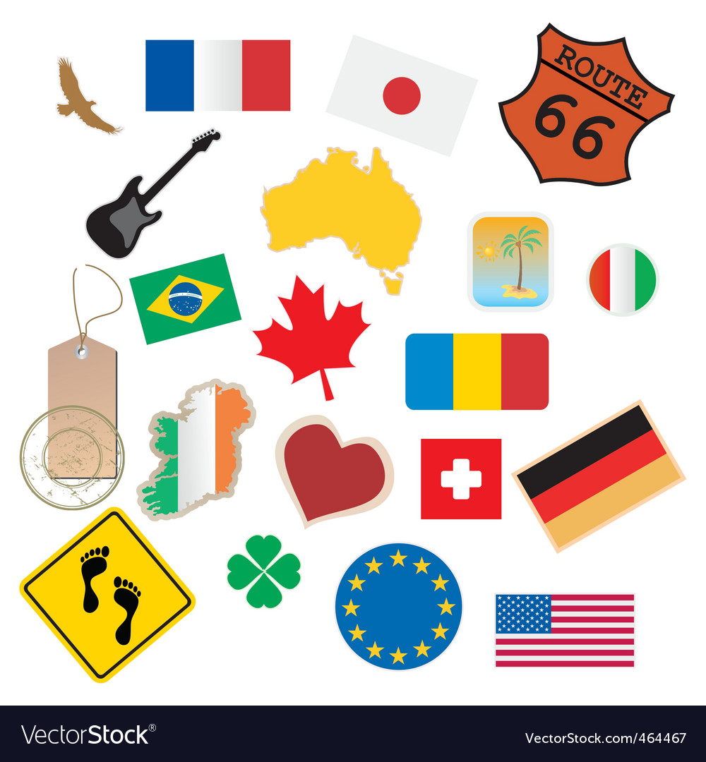 Set of flags and signs vector | Price: 1 Credit (USD $1)