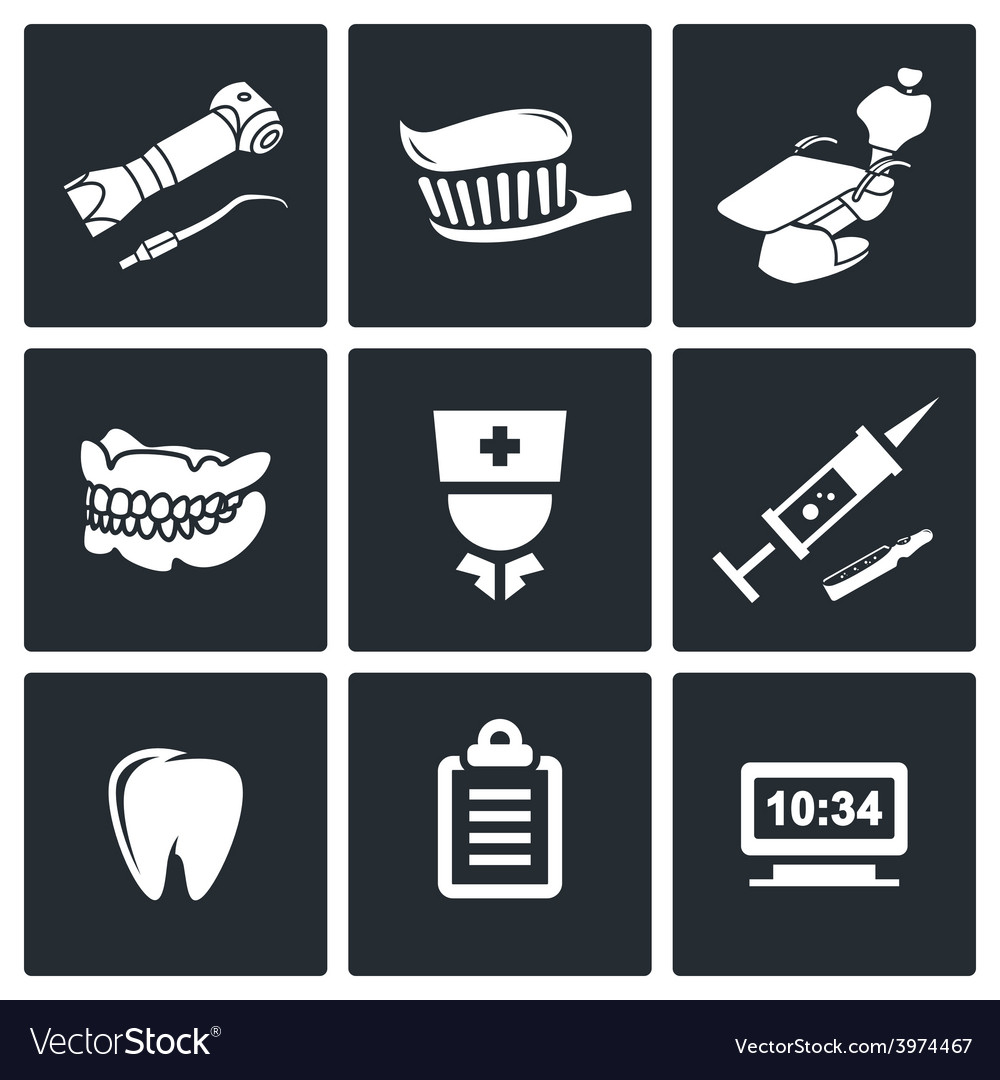 Stomatology icons set vector | Price: 1 Credit (USD $1)