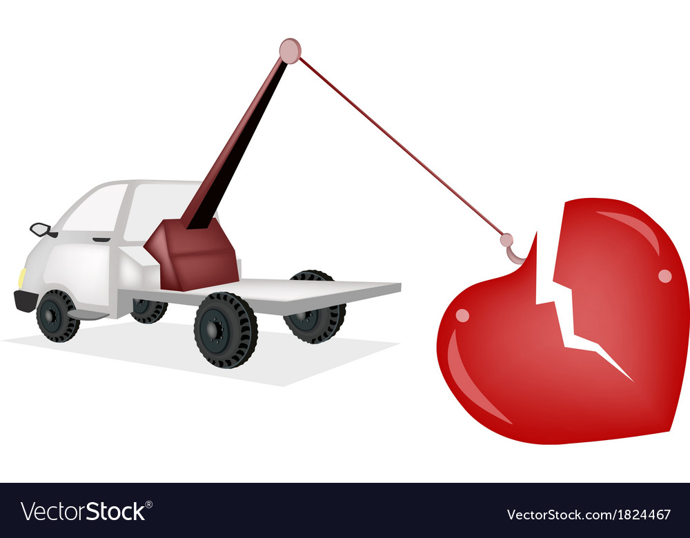 Wrecker tow truck pulling a red broken heart vector | Price: 1 Credit (USD $1)